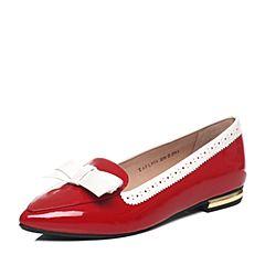Tata/他她2017年春季专柜同款大红/纯白时尚女休闲鞋FL908AQ7