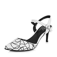Tata/他她春专柜同款白色羊皮印花尖头细高跟女皮凉鞋T1042AH7