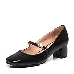 Tata/他她春季黑色漆牛皮时尚水钻星星一字带女玛丽珍鞋FH701AQ7