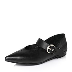 Tata/他她春季黑色羊皮时尚小v口皮带扣一字带女皮鞋2HC25AQ7