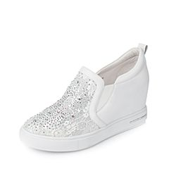 Tata/他她春季白色牛皮蕾丝网布女休闲鞋2NZ71AM7