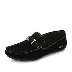 Tata/他她春季黑色牛皮男休闲鞋2C293AM7