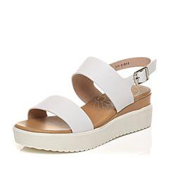 Tata/他她夏季专柜同款白色牛皮舒适坡跟女皮凉鞋2PT08BL7