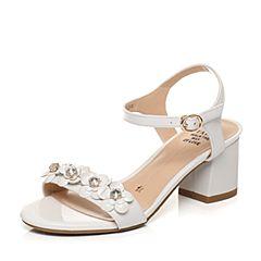 Tata/他她2017夏季专柜同款白/纯白牛皮甜美水钻花朵女皮凉鞋2R310BL7