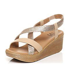 Tata/他她夏专柜同款浅杏/金牛皮拼接布休闲坡跟女凉鞋2NTC1BL7