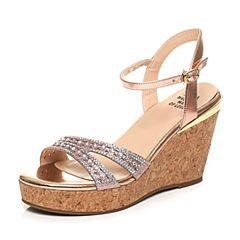 Tata/他她夏季专柜同款粉金/粉牛皮水钻亮片坡跟女皮凉鞋2A2B1BL7