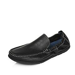 Tata/他她2017夏季专柜同款黑色时尚乐福舒适平跟牛皮男休闲鞋2W313BM7