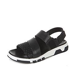 Tata/他她2017夏季黑色时尚条纹休闲坡跟男凉鞋11051BL7
