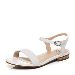 Tata/他她夏季白色牛皮时尚一字带女皮凉鞋2QV19BL7
