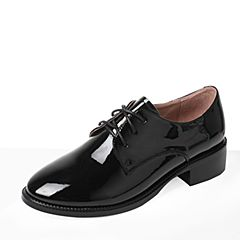 Tata/他她2017秋黑色PU漆皮撞色绑带方跟女单鞋2HC84CM7