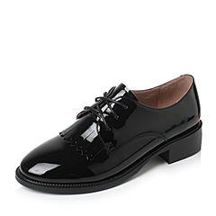 Tata/他她2017秋黑色PU英伦流苏绑带方跟女单鞋2HC86CM7