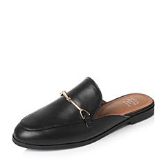 Tata/他她2017年夏季黑色牛皮时尚简约穆勒鞋后空女凉鞋2B219BH7