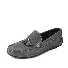 Tata/他她夏季灰色牛剖层皮流苏复古风平跟乐福鞋男单鞋2Q217BM7