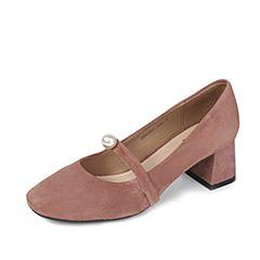 Tata/他她2017年夏季粉色羊皮精致珍珠一字带复古玛丽珍女鞋ZB963BQ7
