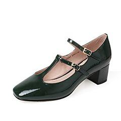 Tata/他她夏季绿色漆牛皮优雅复古丁字式扣带女玛丽珍鞋MLZ18BQ7