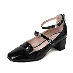 Tata/他她2017年夏季黑色漆牛皮时尚皮带扣一字扣带女玛丽珍鞋MLZ21BQ7