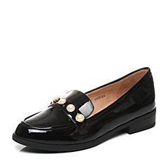 Tata/他她2017秋专柜同款黑色漆牛皮英伦珍珠百搭女乐福鞋2I2G7CQ7