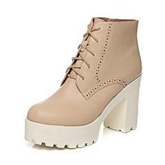 Tata/他她2017秋米色牛皮雕花绑带通勤粗高跟女短靴2C146CD7