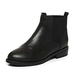 Tata/他她2017秋黑色牛皮通勤套筒方跟女短靴2YWH1CD7