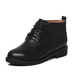 Tata/他她2017秋黑色牛皮绑带及踝靴方跟女短靴2YWH2CD7