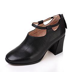 Tata/他她2017秋黑色牛皮一字带拉链粗高跟女皮鞋A283ACM7