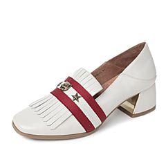 Tata/他她2017秋白色羊皮英伦条纹流苏粗跟女单鞋DF064CM7