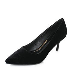 Tata/他她2017秋黑色天鹅绒优雅尖头浅口高跟女鞋FBQ01CQ7