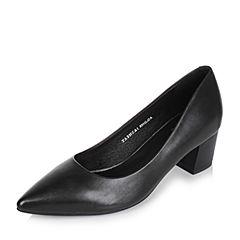 Tata/他她2017秋黑色牛皮尖头粗跟套脚浅口女鞋2NCA1CQ7