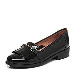 Tata/他她2017秋专柜同款黑色漆牛皮英伦流苏女乐福鞋FAM02CQ7