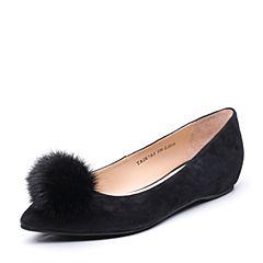 Tata/他她2017秋专柜同款黑色羊皮内增高尖头鞋女皮鞋2K7A5CQ7