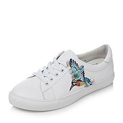 Tata/他她秋季白色牛皮蜂鸟刺绣系带小白鞋女休闲鞋FBX26CM7