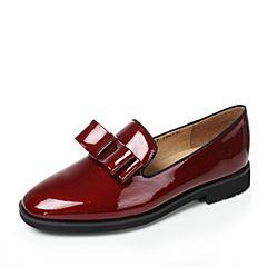 Tata/他她2017年秋季酒红色漆牛皮优雅蝴蝶结方跟女皮鞋62801CM7