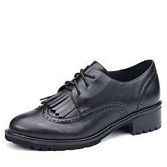Tata/他她2017秋专柜同款黑色牛皮流苏绑带方跟女皮鞋2L026CM7
