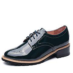 Tata/他她2017秋专柜同款绿色漆牛皮英伦绑带方跟女皮鞋2L028CM7