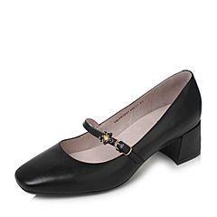 Tata/他她2017秋黑色羊皮甜美花朵一字带玛丽珍鞋粗跟女皮鞋SLTH1CQ7