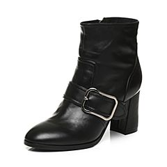 Tata/他她2017冬黑色牛皮时尚大方扣及踝靴粗高跟女短靴FS040DD7