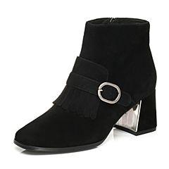 Tata/他她2017冬黑色羊皮流苏皮带扣通勤粗高跟女皮靴FNY40DD7