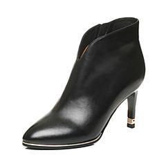 Tata/他她2017冬黑色牛皮小V口尖头及踝靴粗高跟女皮靴FNP41DD7