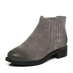 Tata/他她2017冬灰色牛剖层皮擦色及踝靴套筒女休闲靴FS740DD7