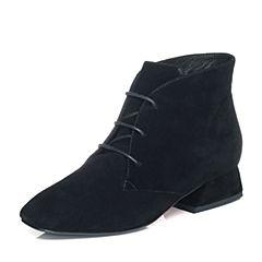 Tata/他她2017冬黑色羊皮绒面绑带粗跟女休闲靴FT340DD7