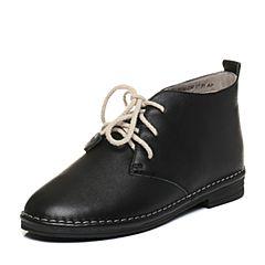 Tata/他她2017冬黑色牛皮时尚学院风绑带女休闲靴2WC40DD7