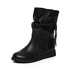 Tata/他她2017冬黑色牛皮绒里靴时尚饰扣休闲靴女中靴2N969DZ7