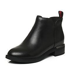 Tata/他她2017冬黑色时尚简约拉链方跟及踝靴女短靴20666DD7
