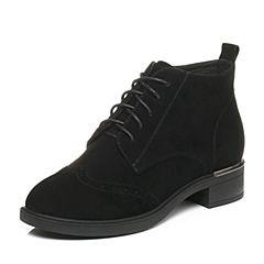 Tata/他她2017冬黑色羊皮英伦雕花绑带休闲靴方跟女皮靴20668DD7