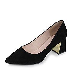 Tata/他她2017秋黑色羊皮复古绒面尖头粗跟浅口女鞋FT104CQ7