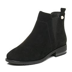 Tata/他她2017秋黑色羊绒皮复古珍珠套脚方跟女短靴L1668CD7