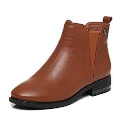 Tata/他她2017秋棕色牛皮简约通勤风套筒方跟女短靴L1669CD7