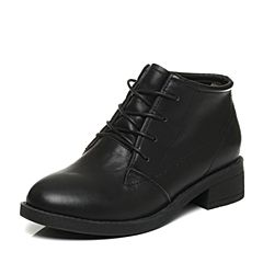 Tata/他她2017冬黑色牛皮百搭系带方跟女短靴6185DDD7