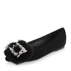 Tata/他她秋黑色羊绒皮珍珠水钻内增高尖头浅口女鞋76811CQ7