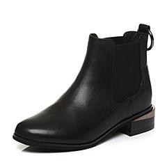 Tata/他她2017冬专柜同款黑色牛皮金属扣通勤女短靴2L041DD7
